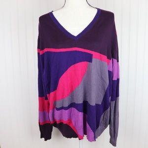 Liz Claiborne V Neck Thin Knit Sweater Size 3x